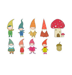 Set with little cute gnomes forest elves vector