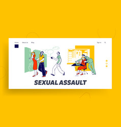 Sexual assault landing page template male vector