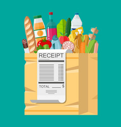 Shopping bag full of groceries and receipt vector