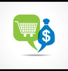 Shopping cart and dollar symbol in message bubble vector image