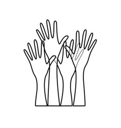 sketch silhouette set hands raised icon vector image