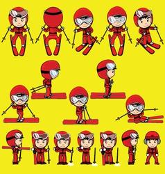 ski player cartoon vector image