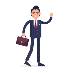 Smiling businessman with bag full length portrait vector