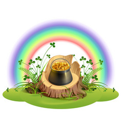 st patrick day pot of gold coins on stump under vector image