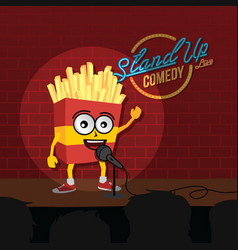 Stand up comedy french fries open mic vector