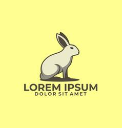 standing rabbit logo template with modern emblem vector image