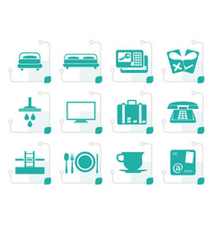 stylized hotel and motel icons vector image