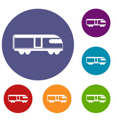 Swiss mountain train icons set vector