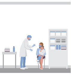 test for throat infection in a child coronavirus vector image