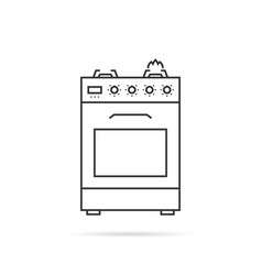 thin line gas stove icon with shadow vector image