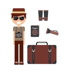 tourist person with camera photographic vector image