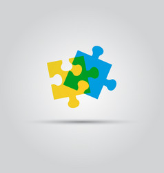 Two puzzle pieces isolated colored logo vector