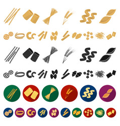 types of pasta cartoon icons in set collection for vector image