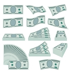 Us dollars money stacks set vector image