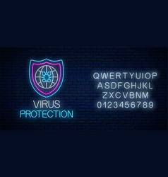 Virus protection glowing neon sign with alphabet vector