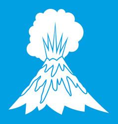 Volcano erupting icon white vector