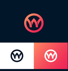 w letter circle monogram like ribbon web vector image