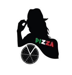 woman with pizza vector image