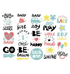15 children s logo with handwriting little one vector image