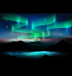 aurora sky and a lot of stars on lake background vector image