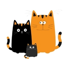 Cute cartoon funny cat family Mother father and vector image vector image