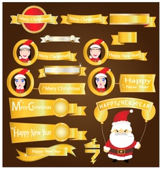 Gold ribbons mery christmas and happy new year vector image vector image