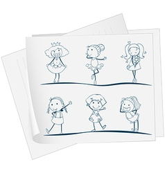 A paper with an image of six girls in different vector image vector image