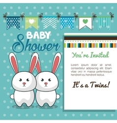 baby shower card twins rabbit design vector image