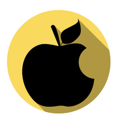 bite apple sign flat black icon with flat vector image