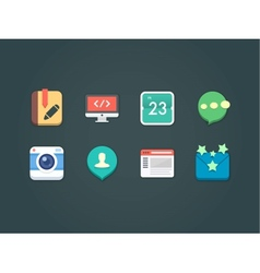 flat icons for web and mobile vector image