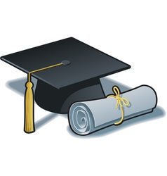 Graduation Hat and Diploma vector image vector image