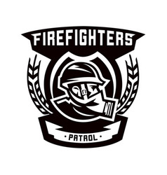 monochrome logo emblem fireman in a gas mask vector image vector image
