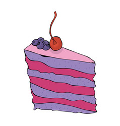 piece of hand drawn blueberry cake with cherry vector image