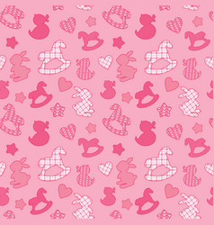 seamless pattern with toys - horses rabbits vector image