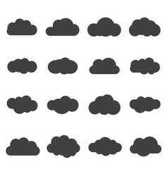 set of silhouette flat style clouds safe secure vector image vector image