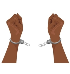 hands of african american man breaking handcuffs vector image