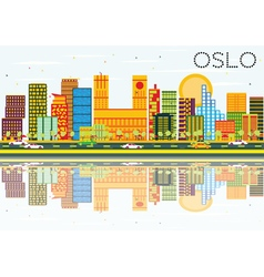 Oslo Skyline with Color Buildings Blue Sky vector image vector image