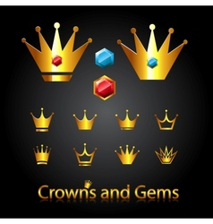 Crowns and gems vector image