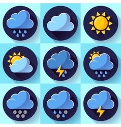 flat color weather meteorology icons set vector image vector image