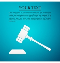 Hammer of judge or auctioneer flat icon on blue vector image