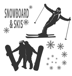 Snowboard and skies vector image