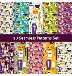 Ten Flat Seamless Halloween Party Patterns Set vector image vector image
