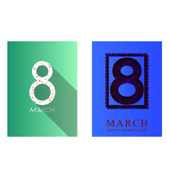 8 march greeting card international womens day vector