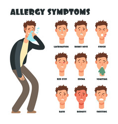 Allergy symptoms with sneezing cartoon man vector