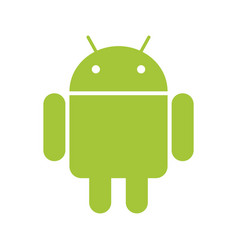 Android emblem green robot on white bg vector