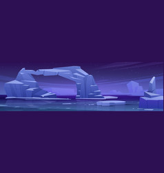 Arctic landscape with melting iceberg at night vector