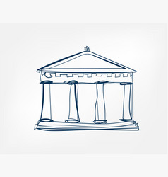 athens temple sight art line isolated doodle vector image
