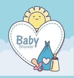 Bashower feeding bottle pacifier diaper blue vector