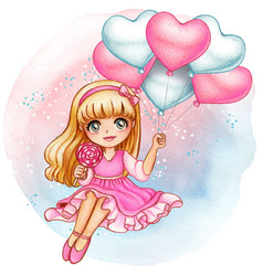 beautiful watercolor girl holding romantic pink vector image