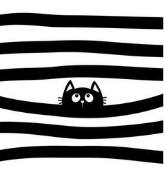 Black cat kitten face head looking up vector